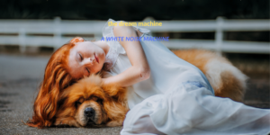 girl and dog sleeping